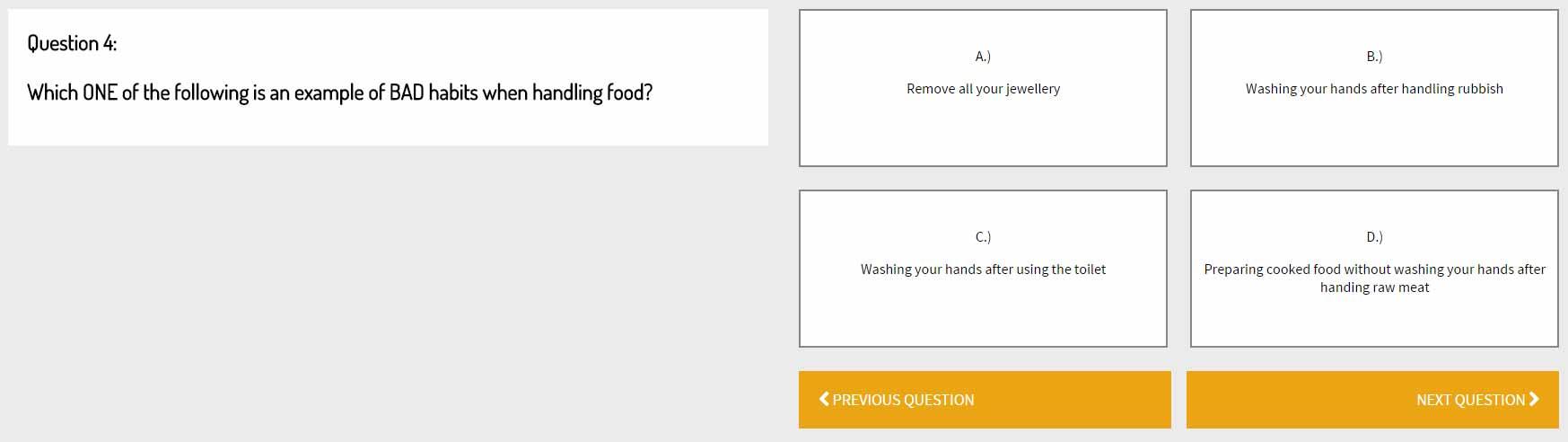 Food Hygiene Sample Questions